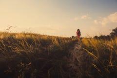 Молодая женщина в платье идя на дорогу стоковая фотография