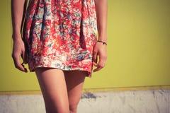 Молодая женщина в платье снаружи Стоковое Изображение