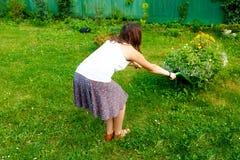 Молодая женщина в саде шаловливо нажимая декоративную тачку вполне цветков Стоковые Фото