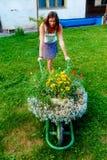 Молодая женщина в саде шаловливо нажимая декоративную тачку вполне цветков Стоковое Изображение RF