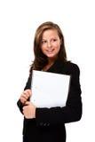 Молодая женщина держа блокнот Стоковая Фотография RF