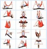 Молодая женщина делая антигравитационную воздушную йогу Стоковые Изображения