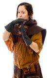 Молодая женщина делая время вне сигнализирует с руками Стоковое Фото