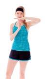 Молодая женщина делая время вне сигнализирует с руками Стоковое Изображение RF