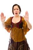 Молодая женщина делая знак жеста стопа от обеих рук Стоковые Фотографии RF
