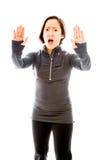 Молодая женщина делая знак жеста стопа Стоковая Фотография RF