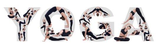 Молодая женщина делая йогу в dofferent представлениях и формируя слово йоги Стоковые Изображения