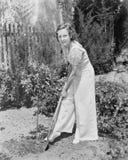 Молодая женщина делая садовничать в ее задворк (все показанные люди более длинные живущие и никакое имущество не существует Гаран Стоковое Изображение RF