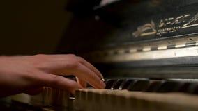 Молодая женщина играя крупный план рояля Рояль вручает пианиста играя детали музыкальных инструментов с крупным планом руки игрок акции видеоматериалы