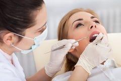 Молодая женщина имея зубоврачебный проверку Стоковые Изображения RF