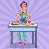 Молодая женщина искусства шипучки делая Smoothie с свежими фруктами еда здоровая иллюстрация вектора