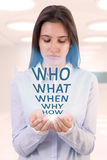 Молодая женщина и вопросы стоковое фото rf