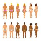 Молодая женщина и парень вектора в нижнем белье тело Стоковые Изображения RF
