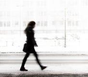 Молодая женщина идя в зиму стоковая фотография rf