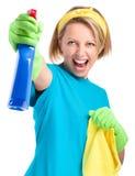 Молодая женщина как горничная чистки стоковые изображения rf