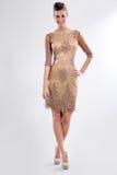 Молодая женщина моды в стильном платье стоковые фото
