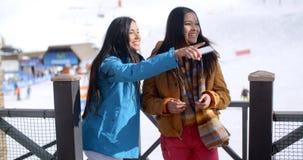 Молодая женщина 2 на каникулах лыжи зимы Стоковое Изображение