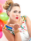 Молодая женщина на партии Стоковые Изображения RF
