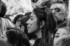 Молодая женщина на ` s Лос-Анджелесе -го 2017 женщин марте Стоковое Изображение RF