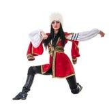 Молодая женщина нося людей костюмирует танцы Стоковые Фотографии RF