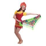 Молодая женщина нося людей костюмирует танцы Стоковые Изображения