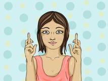Молодая женщина пересекая ее перста Счастливая девушка делает желание бесплатная иллюстрация