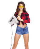 Молодая женщина показывает инструменты конструкции Стоковая Фотография