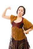 Молодая женщина показывая ее мышцу Стоковое Изображение