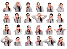 Молодая женщина показывая несколько изолированных выражений, Стоковые Изображения RF