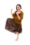 Молодая женщина празднуя успех Стоковые Изображения RF