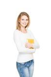 Молодая женщина при папка изолированная на белизне Стоковая Фотография RF