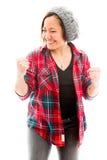 Молодая женщина пробивая воздух и усмехаться Стоковое Изображение RF