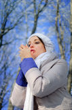 Молодая женщина пробует греть ее замороженные руки в парке du зимы Стоковые Изображения