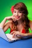 Молодая женщина работая на компьтер-книжке Стоковое Изображение