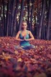 Молодая женщина размышляя в лесе осени Стоковое Изображение RF