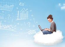 Молодая женщина сидя в облаке с компьтер-книжкой Стоковое Изображение RF