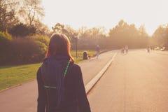 Молодая женщина смотря заход солнца в парке стоковая фотография rf