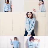 Молодая женщина стоя перед взглядом моды Уолл-Стрита вскользь, коллажем тонизированных фото Стоковая Фотография