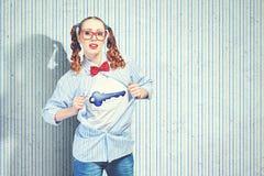 Молодая женщина супергероя стоковая фотография