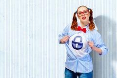 Молодая женщина супергероя стоковая фотография rf