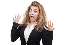 Молодая женщина с активными выражениями Стоковые Фотографии RF
