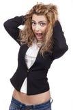 Молодая женщина с активными выражениями Стоковая Фотография