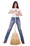 Молодая женщина с веником Стоковые Изображения