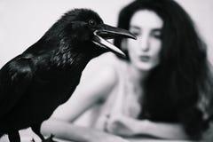 Молодая женщина с вороном стоковое изображение rf