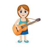 Молодая женщина с гитарой Стоковое Фото