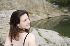 Молодая женщина с зелеными глазами Стоковое Изображение