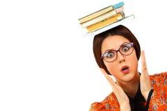 Молодая женщина с книгами Стоковое фото RF