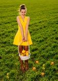 Молодая женщина с корзиной усмехаться плодоовощей Стоковое Изображение