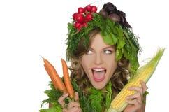 Молодая женщина с овощами Стоковое Изображение
