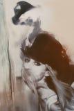 Молодая женщина с призрачным человеком на заднем плане Стоковое Изображение
